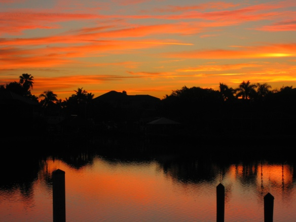 Sunrise mirrored in intracoastal waterway January 17, 2014